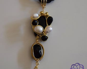 Pearls, Black and Gold Necklace