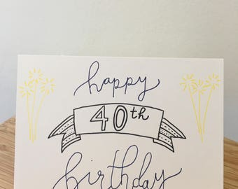 Hand Drawn Happy Birthday Card with Age