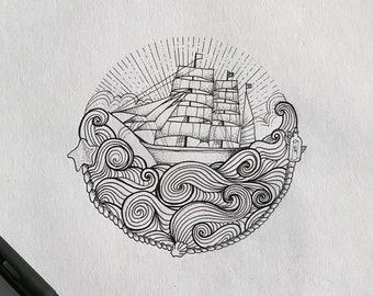 Boat drawing - ink illustration