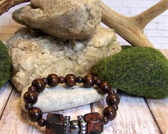 Strength Gemstone and Wood Bracelet