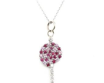Unique 14K Estate Diamond Ruby and Pink Sapphire  Lollipop Pendant Necklace
