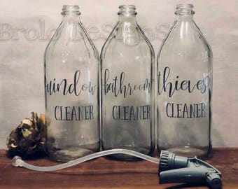 Vinyl LABELS for your DIY Essential Oil Cleaners | Thieves | Window | Bathroom | Custom| Vertical or Horizontal options | 16oz or 8 oz sizes