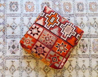 Fruity Eclectic Vintage Moroccan Floor Cushion Pouf Sofa Cover Boujaad Kilim