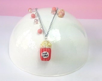 Popcorn necklace, I said popcorn, Miniature popcorn, food jewellery, popcorn necklace, gift for her, kawaii food pendant, jewellery