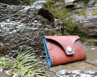 Brown and blue wallet