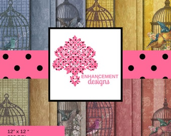 Birdcages Paper, Digital Paper, Birdcages on Wood and Wallpaper, 12 colors/variations, Instant Download