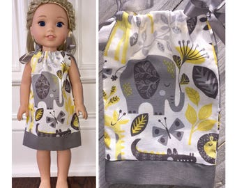 """14.5"""" Doll Clothes/WellieWishers Doll Clothes/American Girl/Pillowcase Dress/Jungle Friends"""