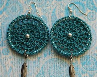 Boho Crochet Earrings, Jewelry, Crochet Jewelry, Bohemian Earrings, Dreamcatcher, Boho