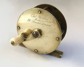A Victorian Brass Salmon Fly Fishing Reel by Charles Farlow, Circa 1851-1894. Ref: G2535
