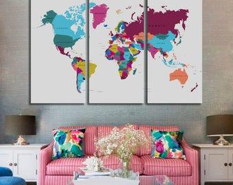 World Map Canvas, Push Pin World Map Print Art, World Map Travel, Large World Map Print, World Map Wall Art, Watercolor World Map Art Print