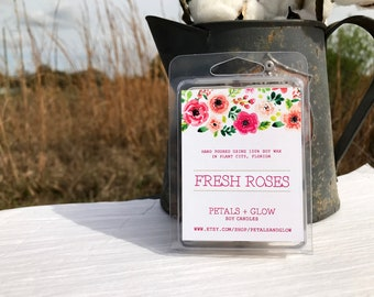 Fresh Roses Scented Soy Wax Melts, 6 Block Clam Shell Package, 100% Soy Wax, Gifts For Her