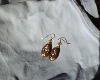Mandala river rock earrings