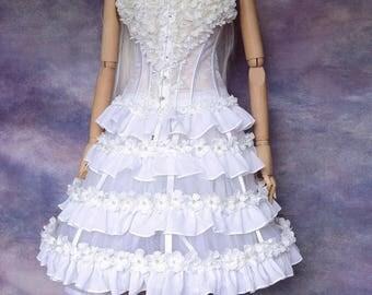 complete white bodice skirt and underskirt flowers