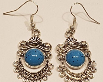 Pretty Turquoise Dalgle Drop Earrings Hook Fastening Silver Plated Handmade