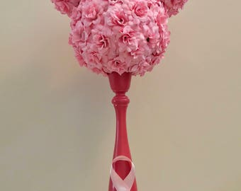 Breast Cancer Awareness Minnie candlestick topiary. Disney decor. Breast cancer fight.  Pink strong.