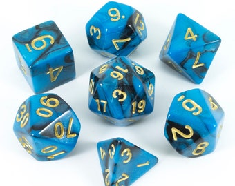 Paladin Roleplaying Blue and Black 'Undine' Polyhedral Dice Set   Dnd, Pathfinder etc