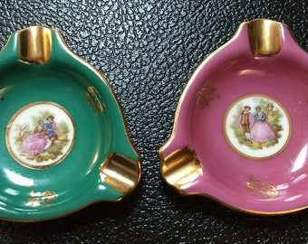 Vintage Hand-painted Bavarian Porcelain Personal Ashtrays