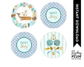 Whale Cupcake Topper / Whale Round Labels / Nautical Cupcake Topper / Ocean Under the Sea Anchor Starfish Seashells Printable WH01