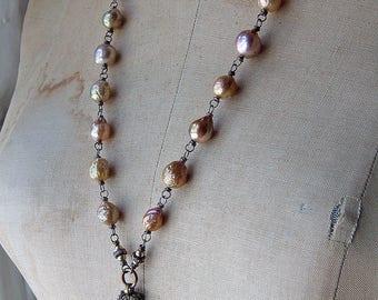 Antique Assemblage Filigree Chatelaine Aide Memoire Carnet de Bal Edison Pearl Romantic Pendant Necklace Repurposed by Cobwebpalace