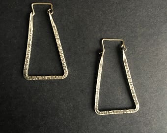 sterling silver triangle hoops