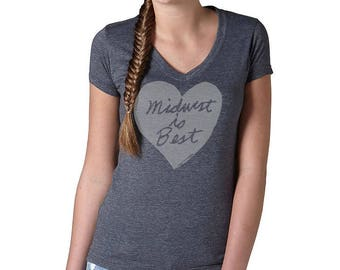 midwest is best tshirt, midwest is best heart, gray and gray, women's tshirt, megan lee designs, free ship