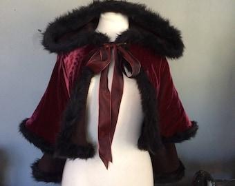 Velvet victorian style cape with fur trim red velvet hooded capelet