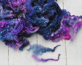 Curly Crimpy BFL Locks - Hand Dyed - Lots of Texture - Midnight - 1.8 Ounces