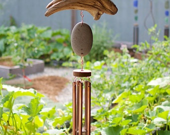 Wind Chime Beach Stone Driftwood Large Copper Chimes Outdoor Windchimes
