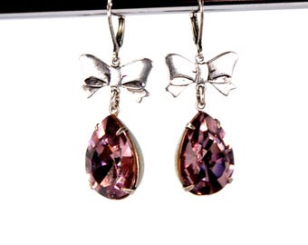 Rococo Style Earrings in Antiqued Silver with Pale Lavender Swarovski Crystal Stones Pear Teardrop Prong Set Ribbon Bow