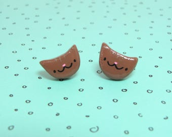 Brown Tabby Cat Clay Sterling Silver Post Earrings