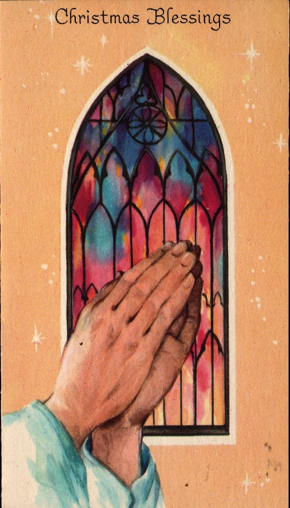 Hands Praying - Christmas Blessing - Vintage Christmas Card