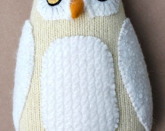 Snowy owl reclaimed wool pillow doll plush softie