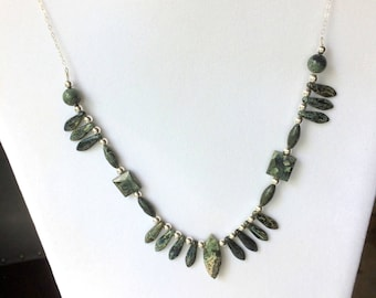 Jasper Bib Necklace, Green Jasper Beaded Necklace, Forest Green and Silver, Woodland Gemstone Jewelry, One of a Kind,  Kambaba Jasper