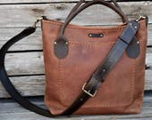 Leather Tote Bag / Convertible Tote bag / Large Leather Shoulder Bag / Hand Stitched Leather Purse / Unisex Laptop Tote / Feral Empire