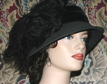 Flapper Hat Wool Downton Abbey Cloche Hat Gray Gatsby Hat - Lady Marguerite - Women's Hat