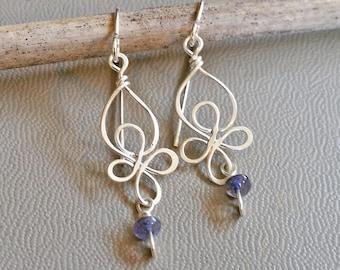Little Celtic Knot Sterling Silver and Iolite Earrings, Celtic Jewelry, Dangle Earrings Silver Wire Earrings, Gift for Women Celtic Earrings