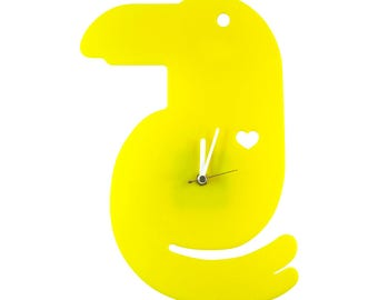 Yellow Toucan Wall Hanging Clock