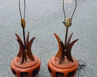 Mid Century Pair of Matching Orange Retro Ceramic and Wood Table Accent Lamps
