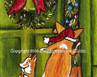 "PEMBROKE WELSH CORGI  Art Print Corgi Christmas Corgi Art Print ""Christmas Surprise""  Dog Art Dog Lovers Gift Holiday Print Christmas Holly"