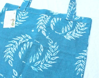 organic grocery bag hand printed blue wheat hemp