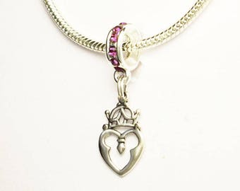 Scottish Luckenbooth Heart #2 Large Hole European Bead Amethyst Crystal Rondelle