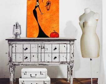 Autumn Art Print, Fall Artwork, Halloween Wall Hanging, Modern Farmhouse, Home Decor, Elegant Illustration, Chanel Witch, Crow Pumpkin SHANO