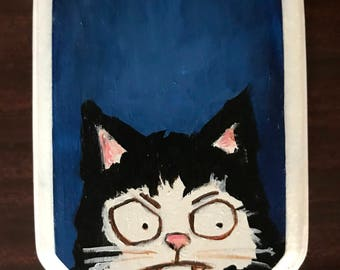 Cat Portrait on Wood #3 Original Painting