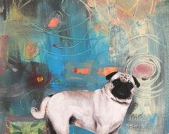 pug love abstract original large painting