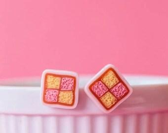 Battenberg Cake Slice Stud Earrings - polymer clay miniature food jewelry