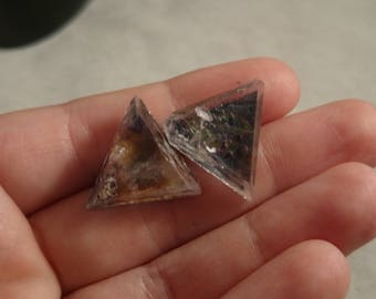 Sterling Silver Illinois Fluorite Triangle Crystal Earrings Studs/Posts Tie Dye Rainbow