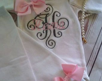 Personalized Baby Gift Girl Newborn Girl Coming Home Outfit Personalized Baby Girl Clothes Baby Clothes Infant Gown Baby Outfit pink gray