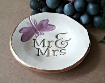 Ceramic Ring Dish Mr and Mrs 4 inches round edged in gold wedding shower gift bridal shower gift