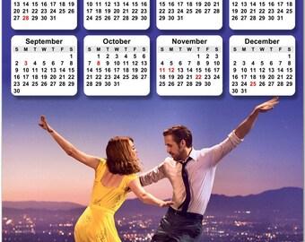 "Movie Musical La La Land, Emma Stone, Ryan Gosling 2018 Full Year View 8"" Calendar - Magnet or Wall #3850"