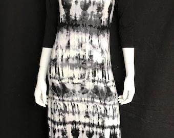 Shibori Raglan Maxi Dress with Three Quarter Sleeves
